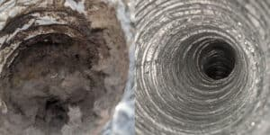Before and after dryer vent cleaning by DUCTZ